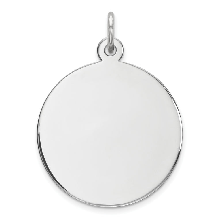 Sterling Silver Engraveable Round Polished Front/Satin Back Disc Charm QM372/27 - shirin-diamonds