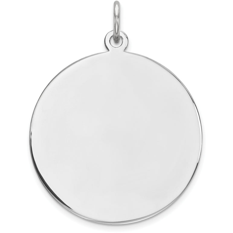 Sterling Silver Engraveable Round Polished Front/Satin Back Disc Charm QM373/27 - shirin-diamonds