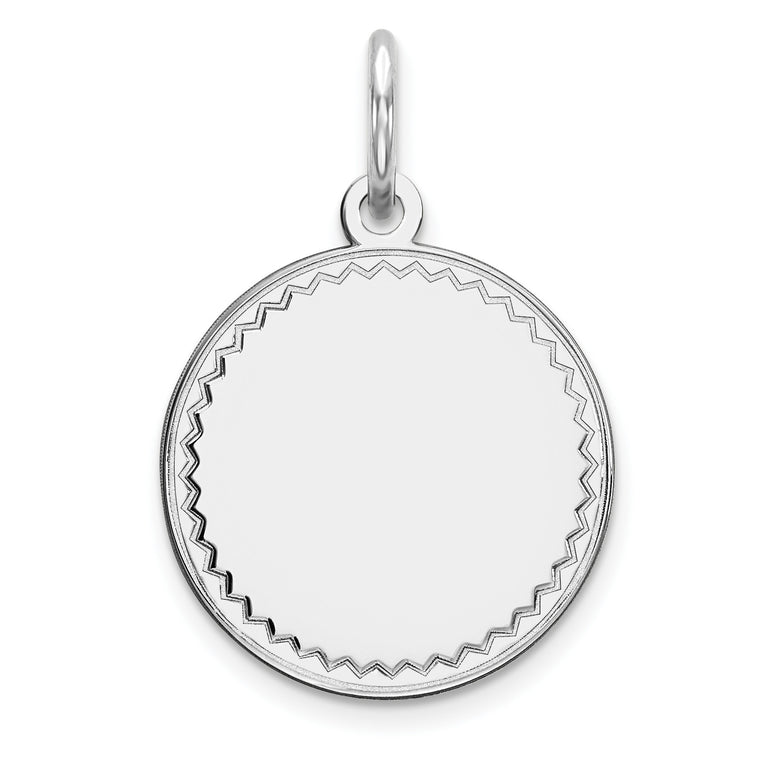Sterling Silver Rhod-plated Eng. Rnd Polish Front/Satin Back Disc Charm QM378/18 - shirin-diamonds