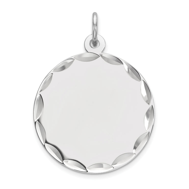 Sterling Silver Rhod-plated Eng. Rnd Polish Front/Satin Back Disc Charm QM382/18 - shirin-diamonds