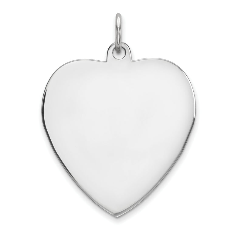 Sterling Silver Engraveable Heart Polished Front/Satin Back Disc Charm QM393/27 - shirin-diamonds