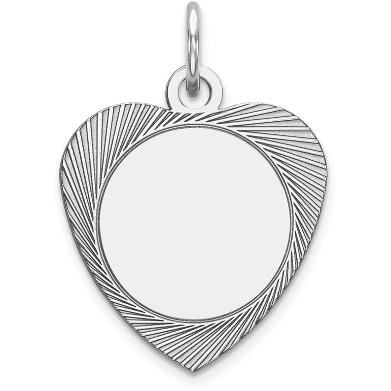 Sterling Silver Engraveable Heart Polished Front/Satin Back Disc Charm QM397/18 - shirin-diamonds