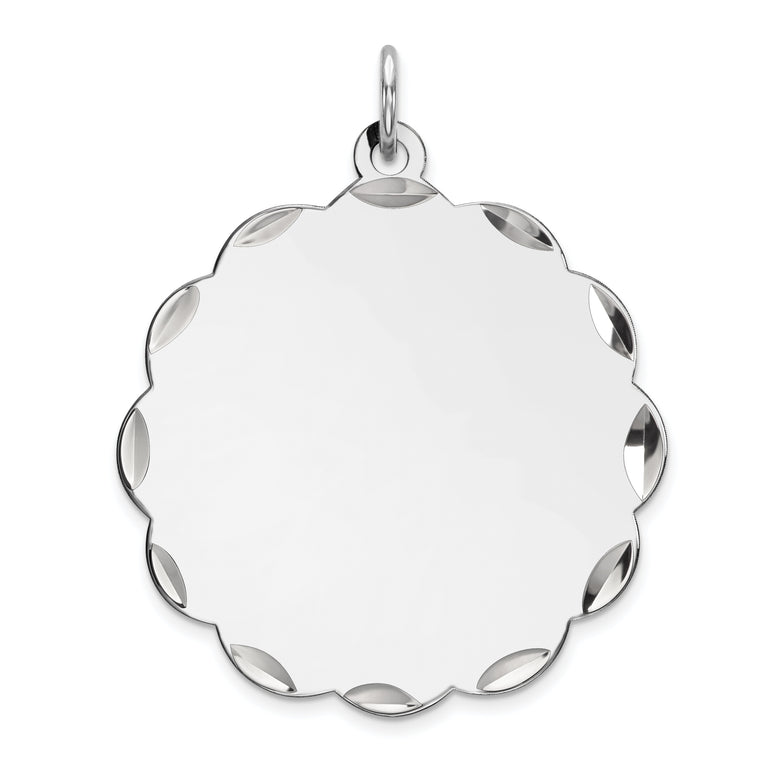 Sterling Silver Engraveable Polished Front/Satin Back Disc Charm QM412/18 - shirin-diamonds
