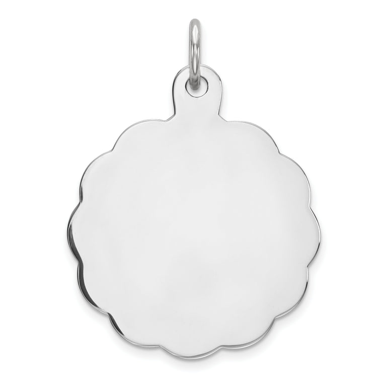 Sterling Silver Engraveable Polished Front/Satin Back Disc Charm QM415/27 - shirin-diamonds