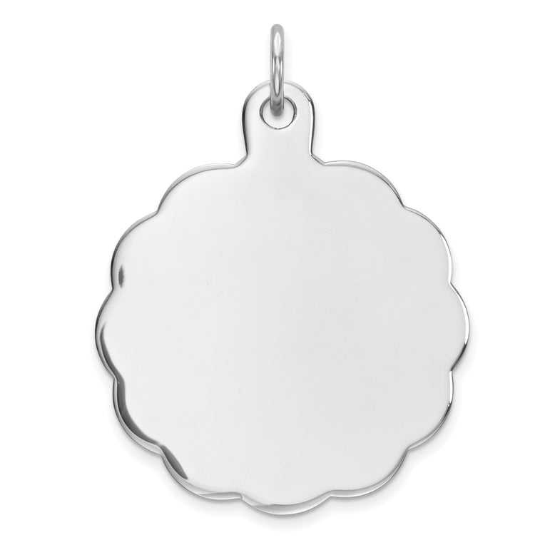 Sterling Silver Engraveable Polished Front/Satin Back Disc Charm QM416/35 - shirin-diamonds