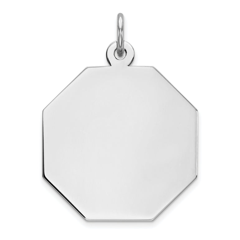 Sterling Silver Engraveable Octagon Polished Front/Satin Back Disc Charm QM425/27 - shirin-diamonds