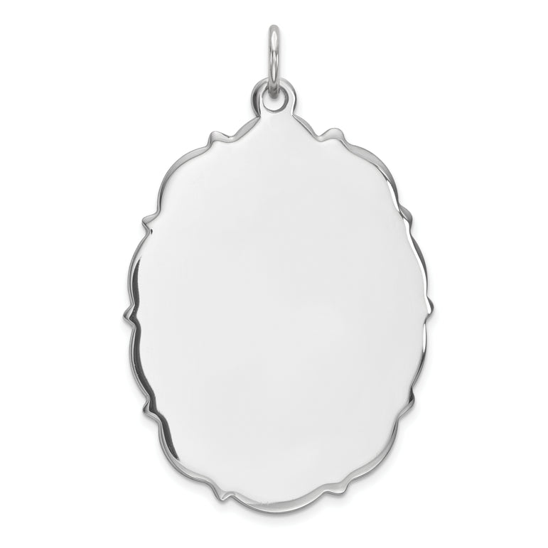 Sterling Silver Engraveable Polished Front/Satin Back Disc Charm QM438/35 - shirin-diamonds