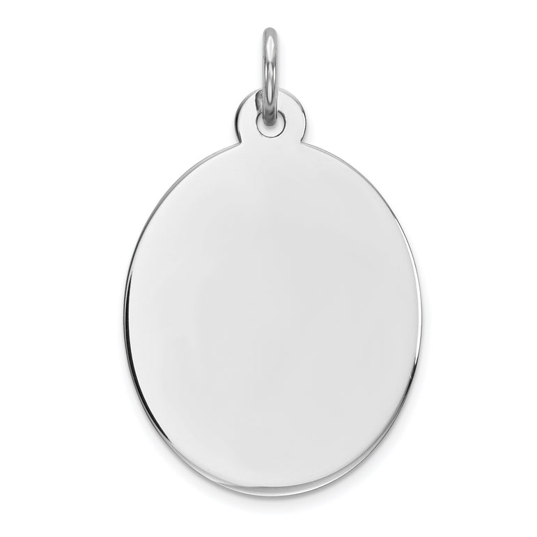 Sterling Silver Rhod-plate Eng. Oval Polish Front/Satin Back Disc Charm QM453/35 - shirin-diamonds