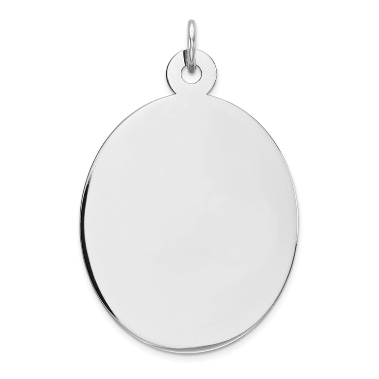Sterling Silver Rhod-plate Eng. Oval Polish Front/Satin Back Disc Charm QM454/18 - shirin-diamonds
