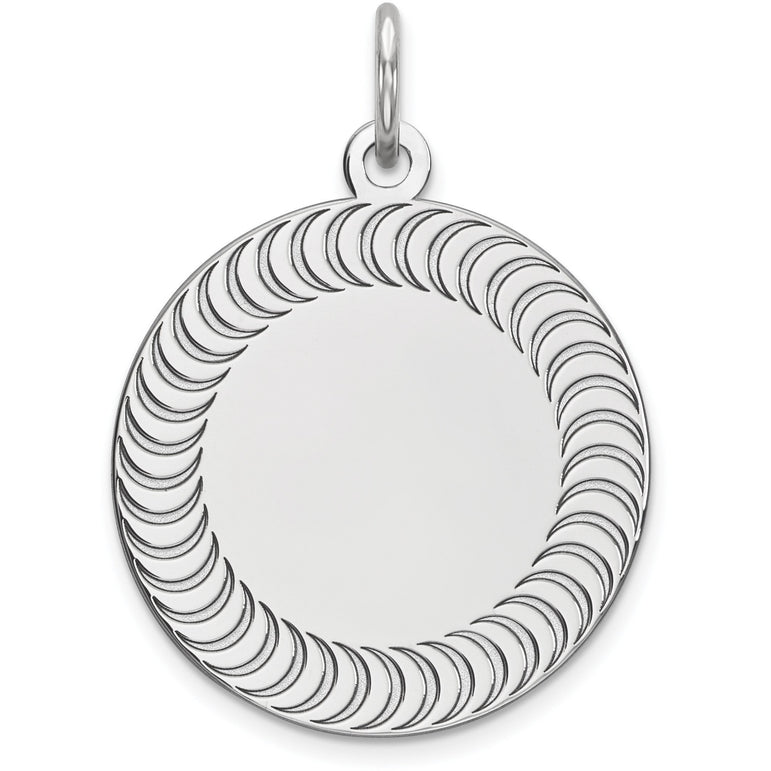 Sterling Silver Engraveable Round Patterned Polished Front/Satin Back Disc QM470/18 - shirin-diamonds