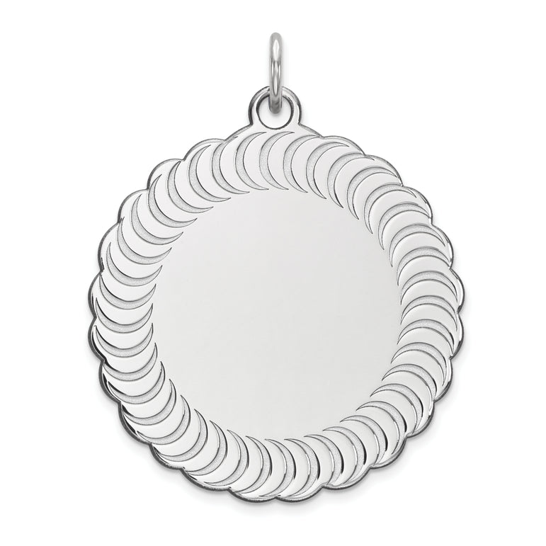 Sterling Silver Engraveable Scalloped Patterned Polished Front/Satin Back C QM471/18 - shirin-diamonds