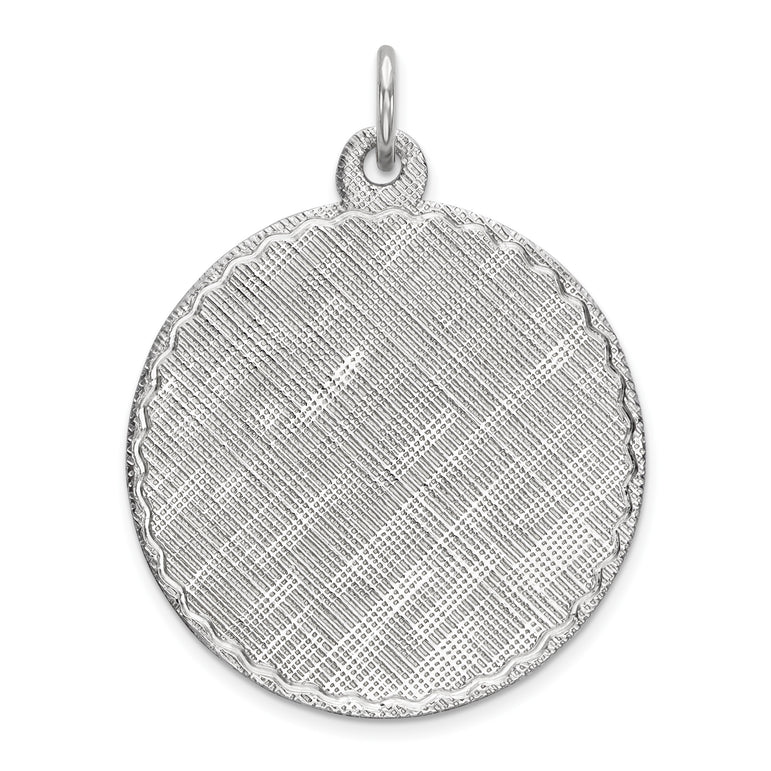 Sterling Silver Engraveable Round Patterned Polished Front/Satin Back Disc QM473/18 - shirin-diamonds