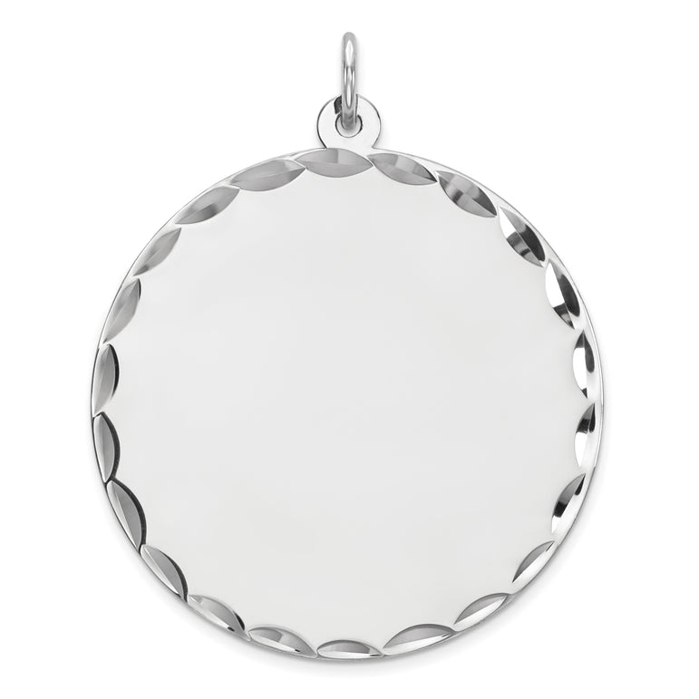 Sterling Silver Rhod-plated Eng. Rnd Polish Front/Satin Back Disc Charm QM499/35 - shirin-diamonds