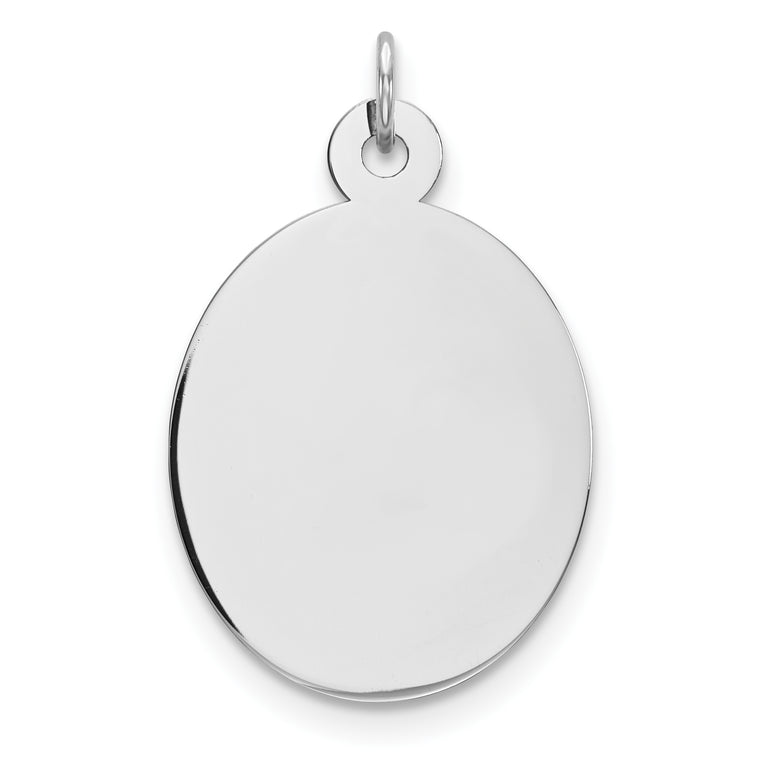 Sterling Silver Rhod-plate Eng. Oval Polish Front/Satin Back Disc Charm QM517/27 - shirin-diamonds