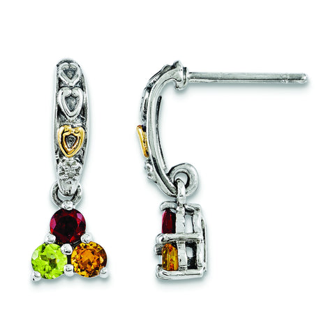 Sterling Silver & 14k Three-stone and Diamond Mother's Earring Semi-Mount QME23/3 - shirin-diamonds