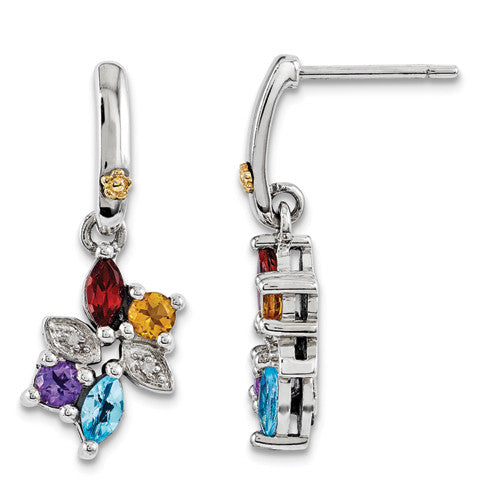 Sterling Silver & 14k Four-stone and Diamond Mother's Earring Semi-Mount QME45/4 - shirin-diamonds