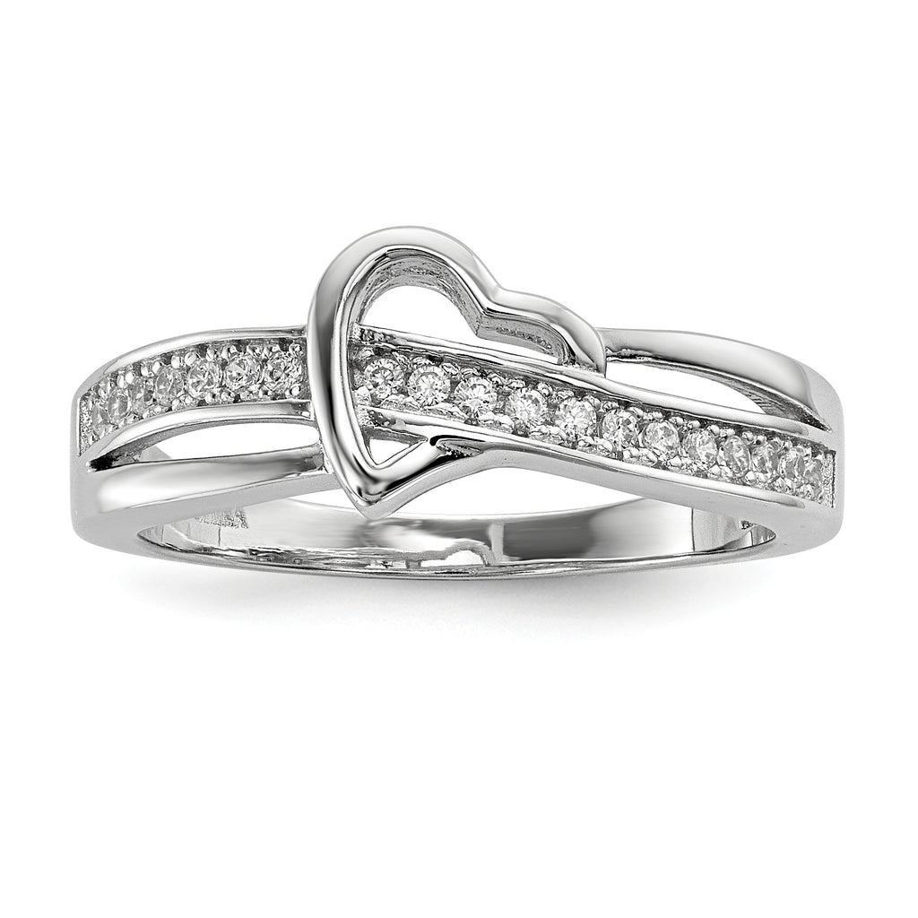 Sterling Silver & CZ Brilliant Embers Heart Ring QMP1094 - shirin-diamonds