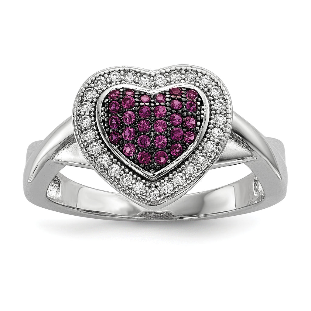 Sterling Silver & CZ Brilliant Embers Heart Ring QMP1108