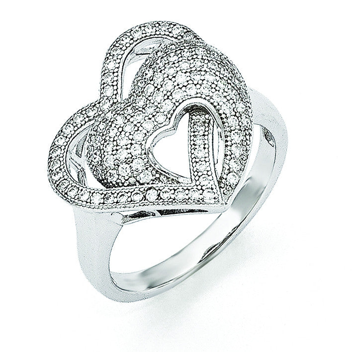 Sterling Silver & CZ Brilliant Embers Hearts Ring QMP1109
