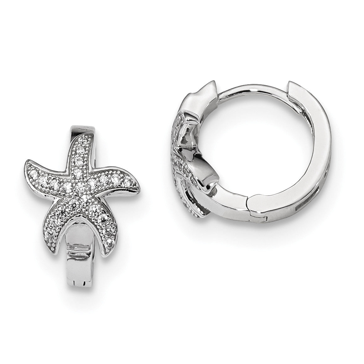 Sterling Silver & CZ Brilliant Embers Starfish Hoop Earrings QMP1155 - shirin-diamonds