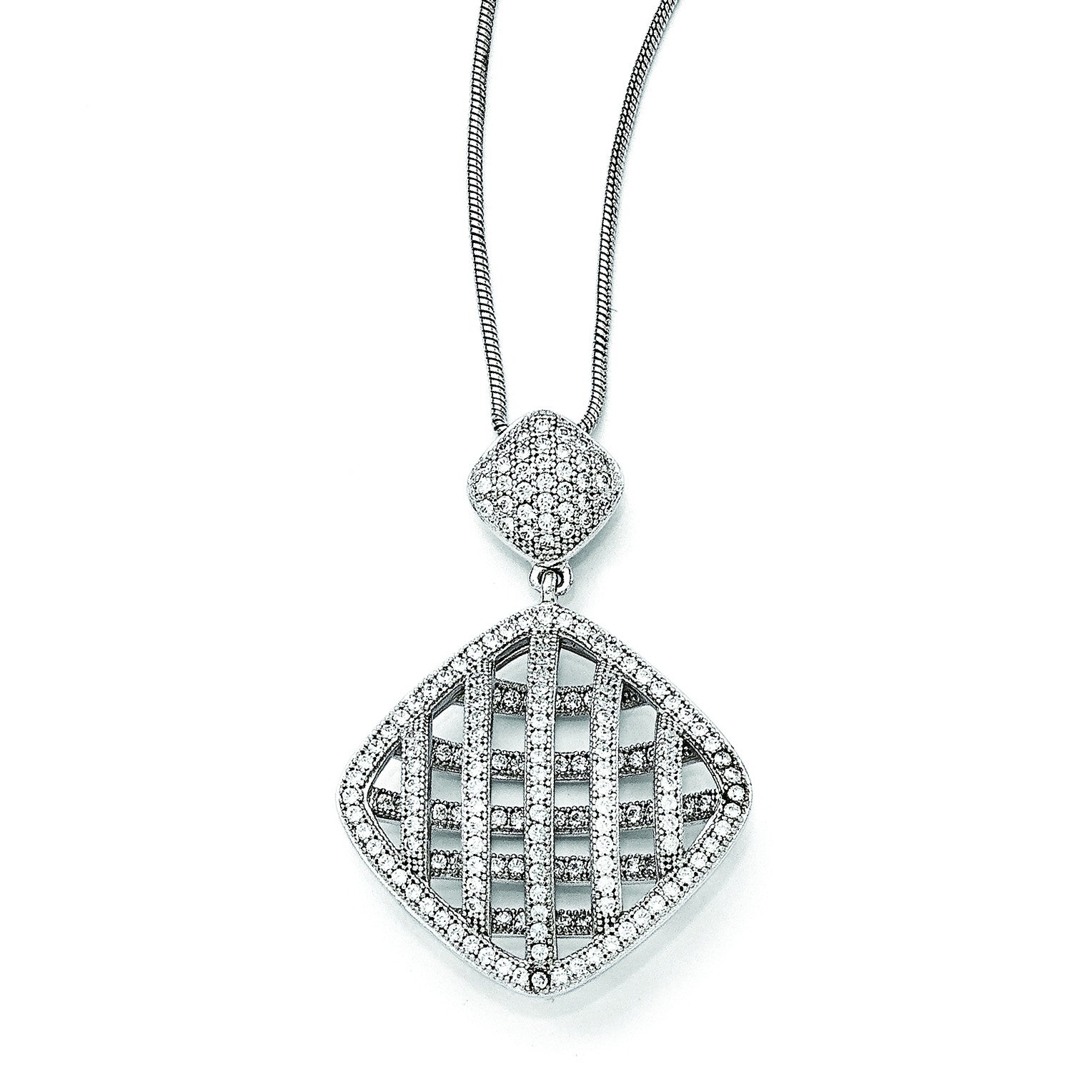 Sterling Silver & CZ Brilliant Embers Polished Necklace QMP125 - shirin-diamonds