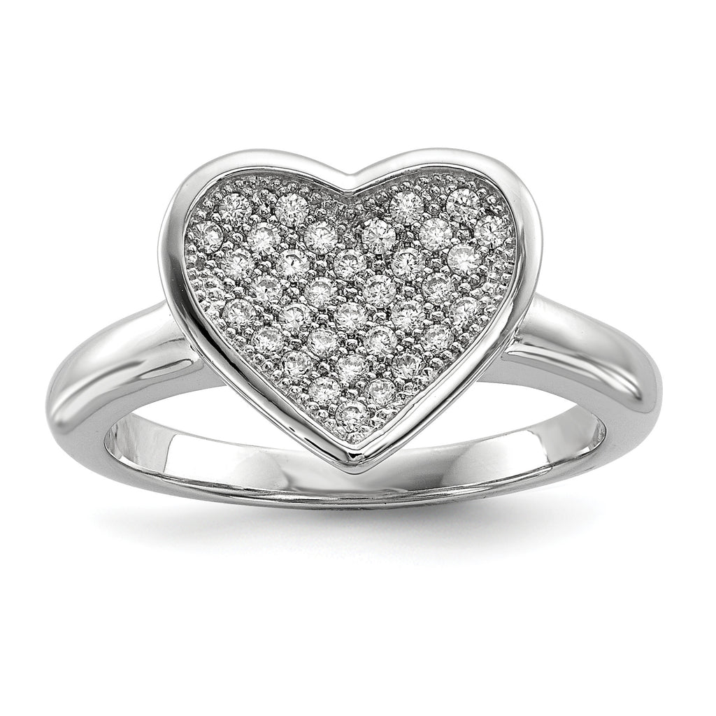 Sterling Silver & CZ Brilliant Embers Heart Ring QMP138 - shirin-diamonds