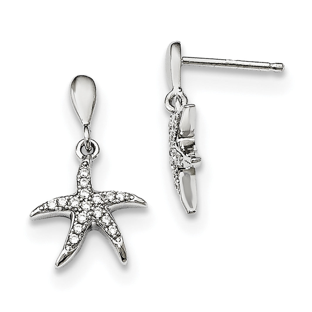 Sterling Silver & CZ Brilliant Embers Starfish Earrings QMP1422 - shirin-diamonds