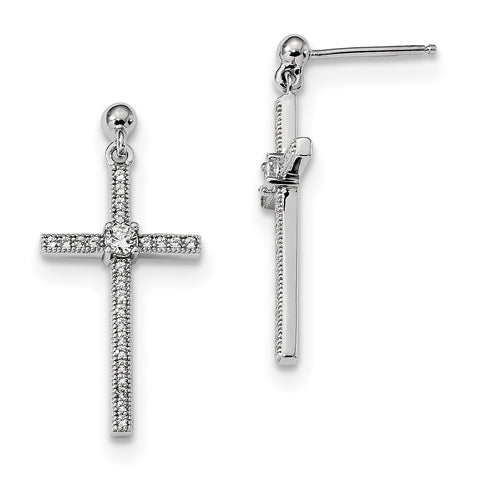 Sterling Silver & CZ Brilliant Embers Polished Cross Dangle Earrings QMP288 - shirin-diamonds