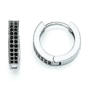 Sterling Silver & Black CZ Brilliant Embers Hoop Earrings QMP561 - shirin-diamonds