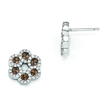 Sterling Silver & CZ Brilliant Embers Coffee Flower Post Earrings QMP687 - shirin-diamonds