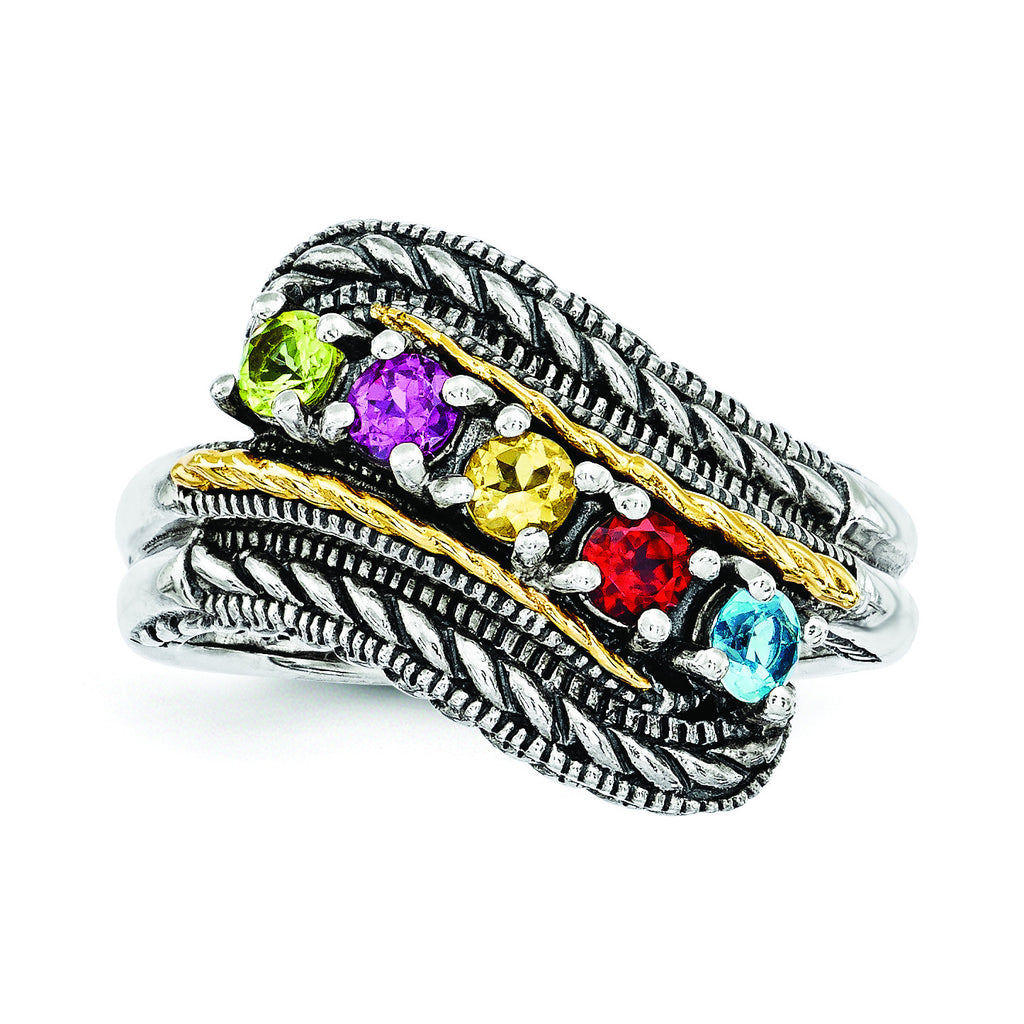 Sterling Silver & 14k Five-stone Mother's Ring Mounting QMR13/5 - shirin-diamonds