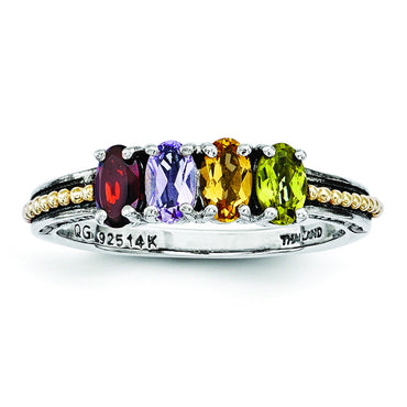 Sterling Silver & 14k Four-stone Mother's Ring Mounting QMR14/4 - shirin-diamonds