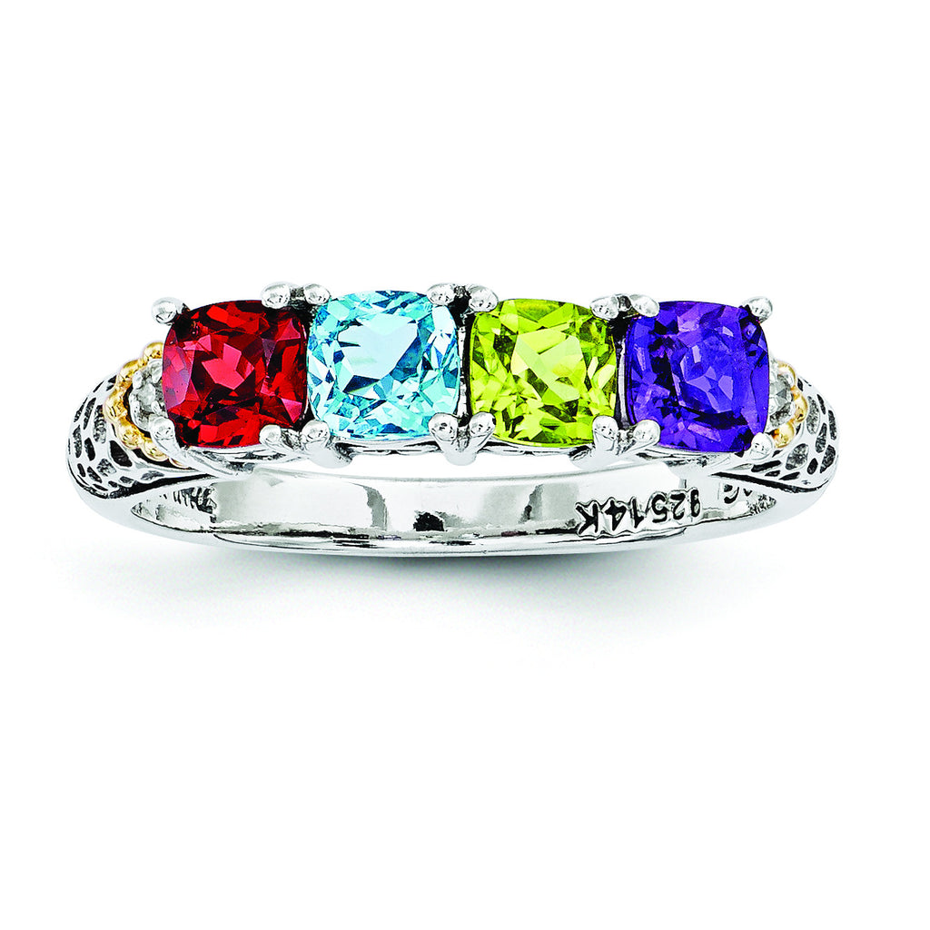 Sterling Silver & 14k Four-stone and Diamond Mother's Ring Semi-Mount QMR21/4 - shirin-diamonds