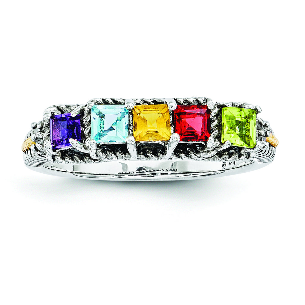 Sterling Silver & 14k Five-stone and Diamond Mother's Ring Semi-Mount QMR30/5 - shirin-diamonds