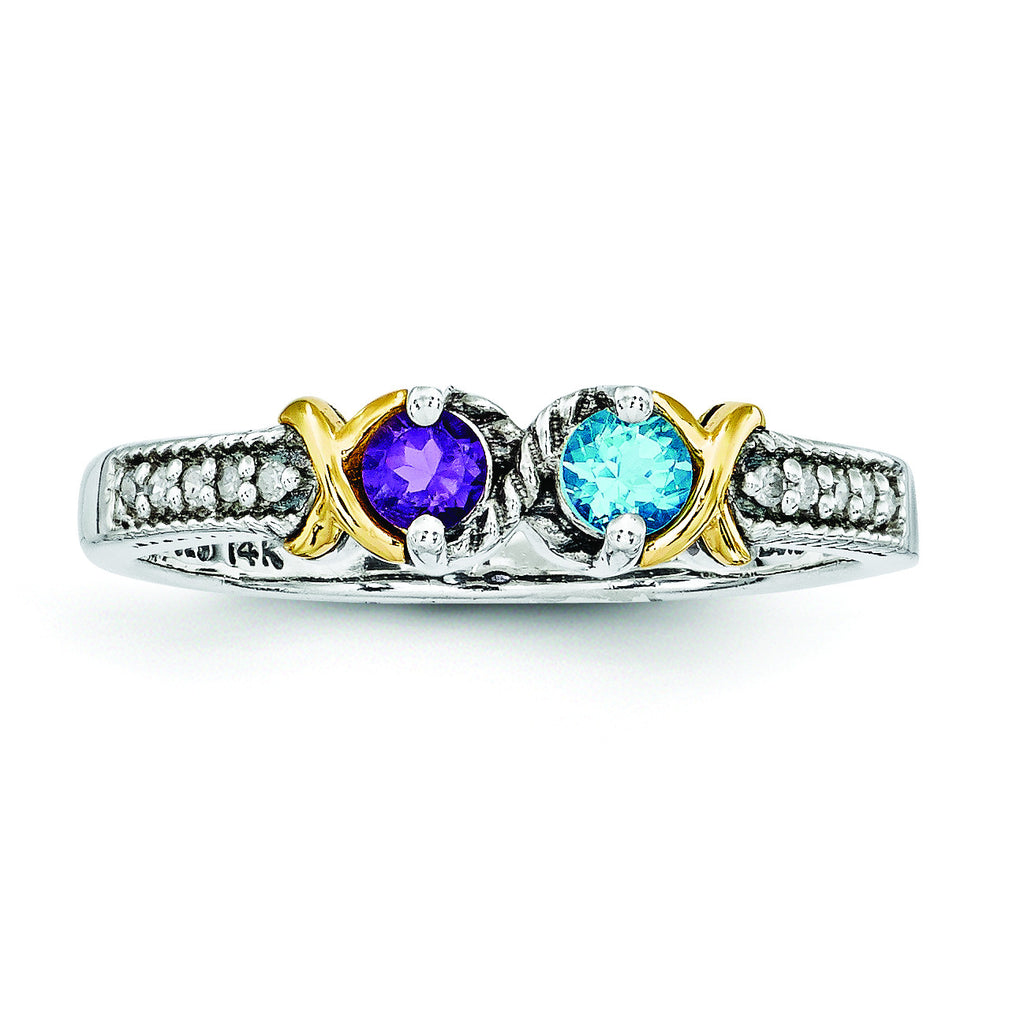 Sterling Silver & 14k Two-stone and Diamond Mother's Ring Semi-Mount QMR31/2 - shirin-diamonds