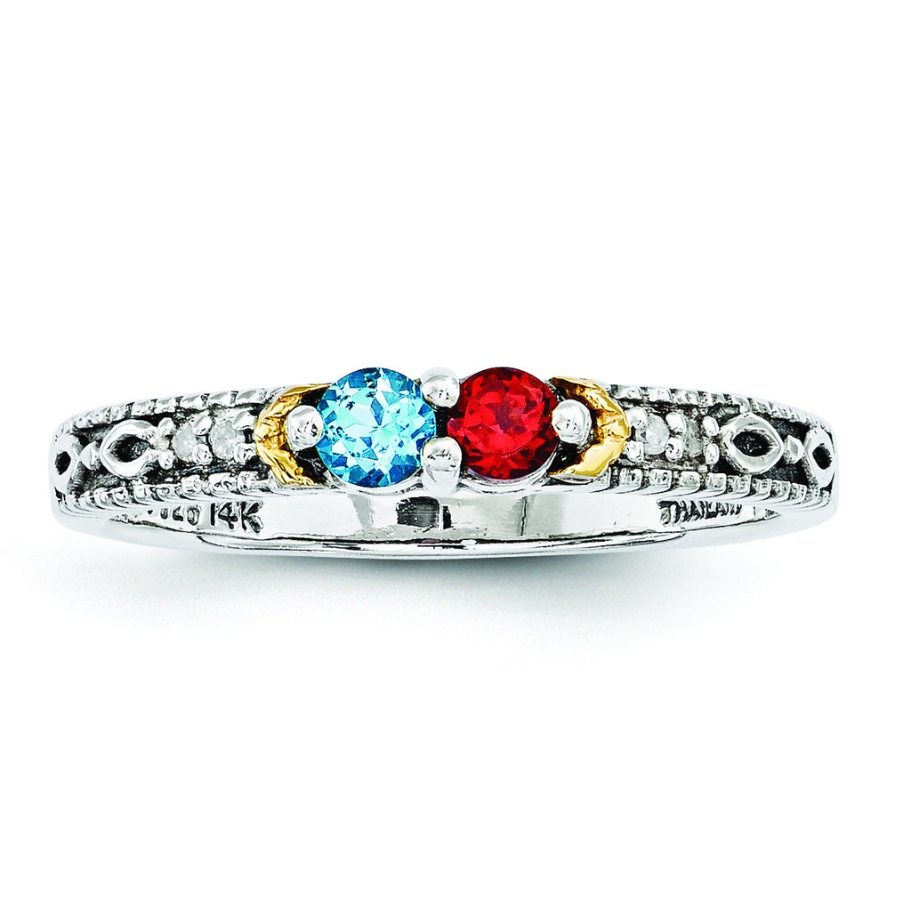 Sterling Silver & 14k Two-stone and Diamond Mother's Ring Semi-Mount QMR33/2 - shirin-diamonds