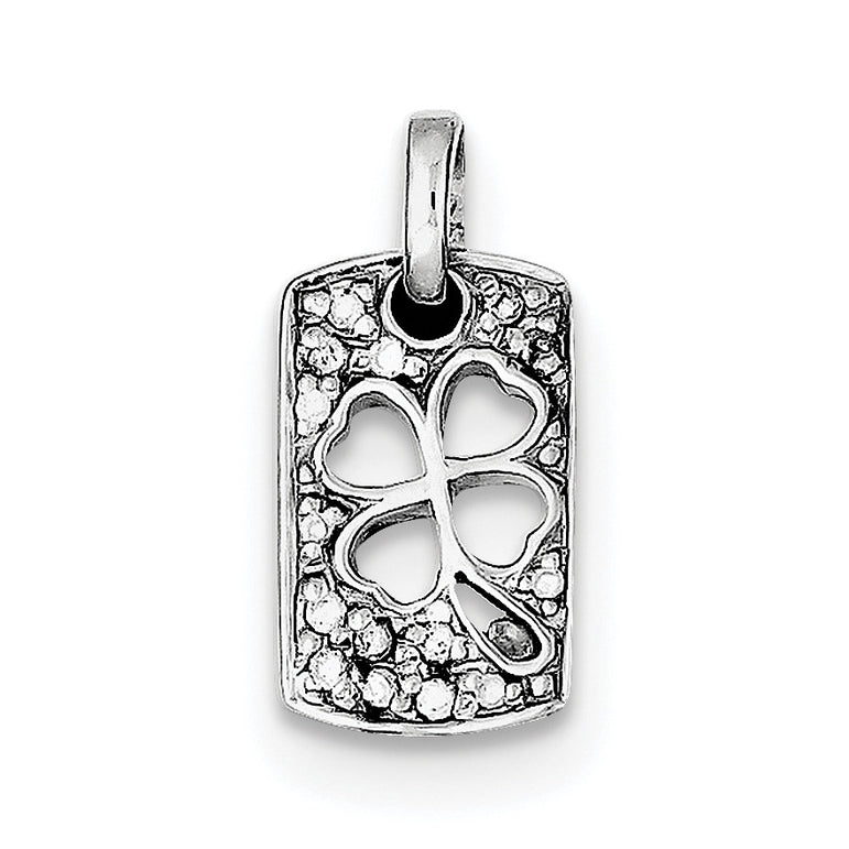 Sterling Silver Rhodium Plated Lucky CZ Shamrock Charm QP1240 - shirin-diamonds