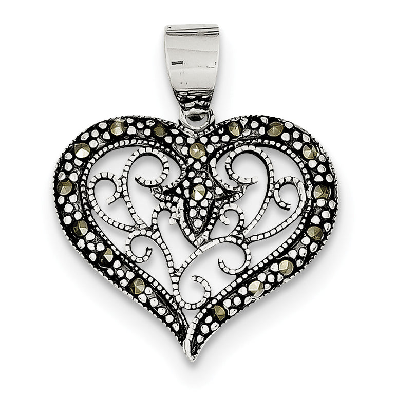 Sterling Silver Marcasite Heart Pendant QP1272 - shirin-diamonds