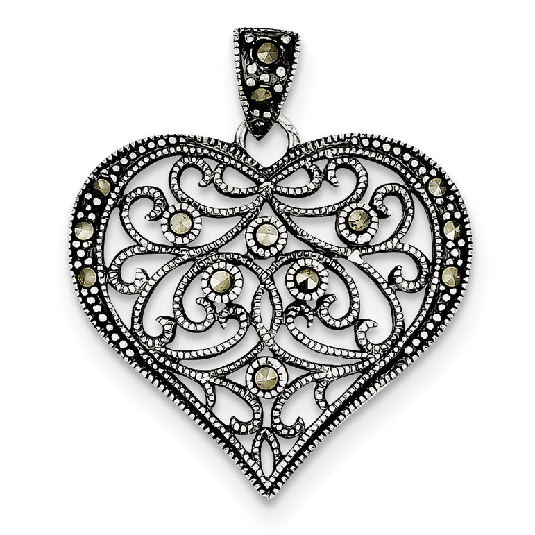 Sterling Silver Marcasite Heart Pendant QP1273 - shirin-diamonds