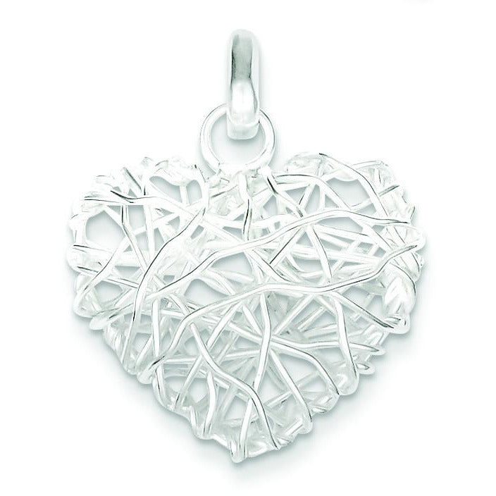 Sterling Silver Polished Puffed Heart Pendant QP1883 - shirin-diamonds