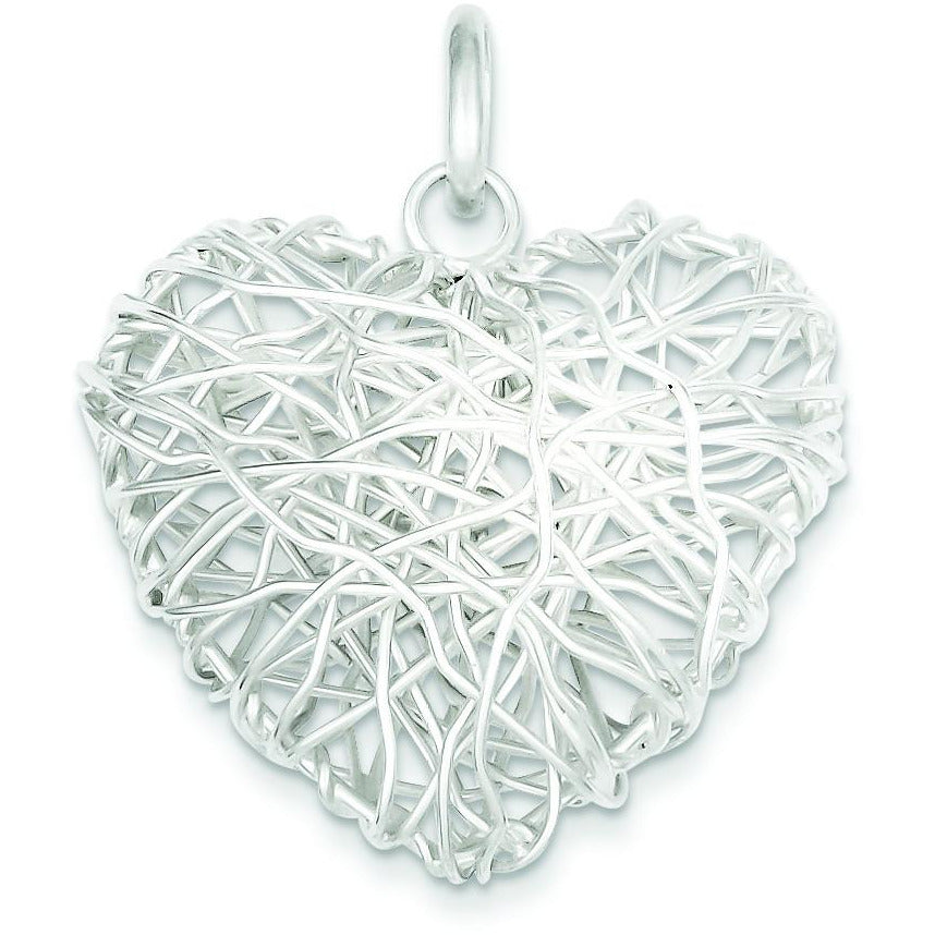 Sterling Silver Polished Puffed Heart Pendant QP1884 - shirin-diamonds