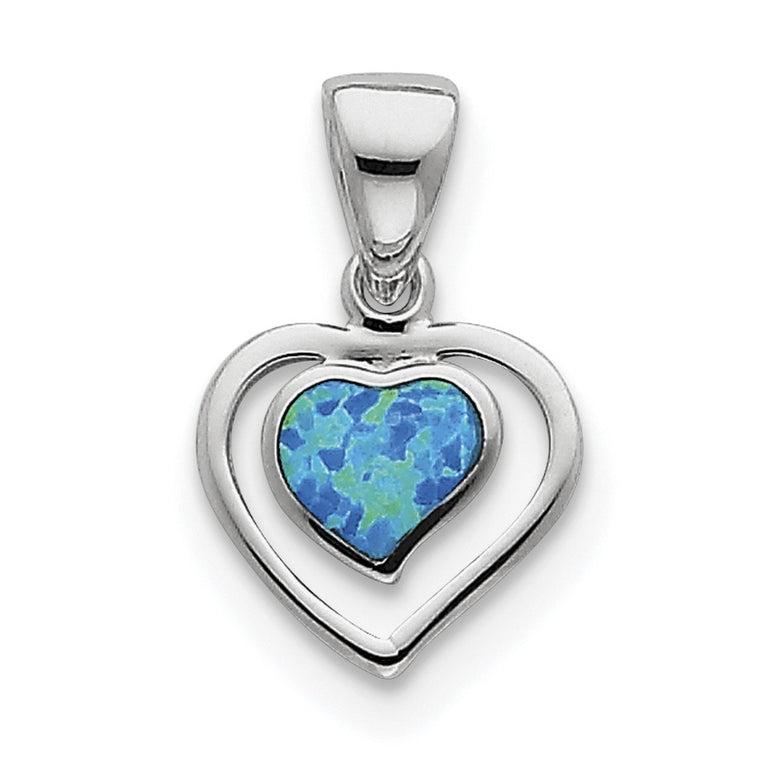 Sterling Silver Created Blue Opal Inlay Heart Pendant QP1894 - shirin-diamonds