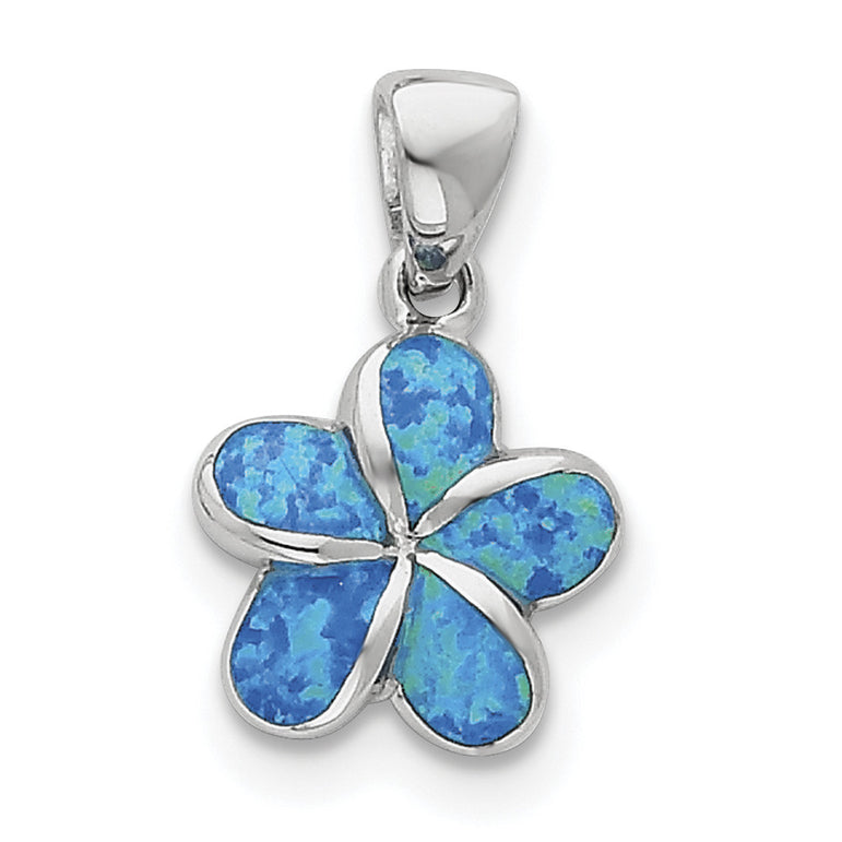 Sterling Silver Created Blue Inlay Opal Flower Pendant QP1898 - shirin-diamonds