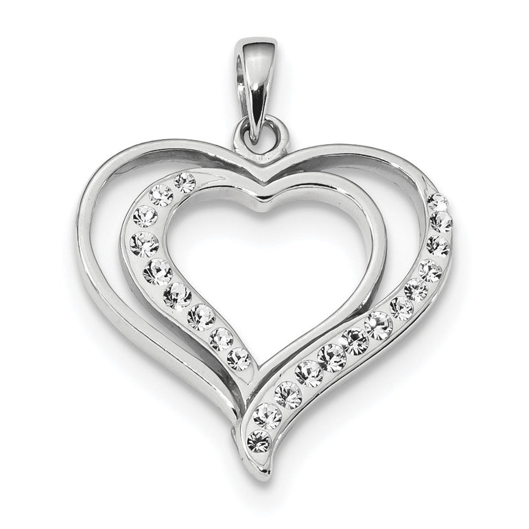 Sterling Silver Rhodium Plated Stellux Crystal Heart Pendant QP2490 - shirin-diamonds