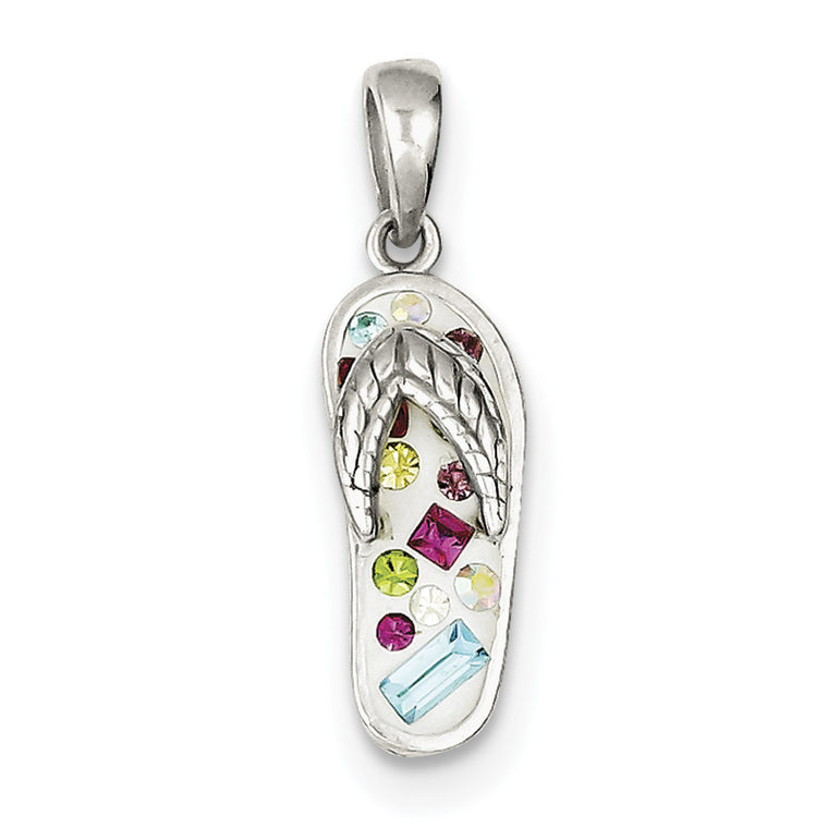Sterling Silver Multi-Color Stellux Crystal Flip-flop Pendant QP2530 - shirin-diamonds