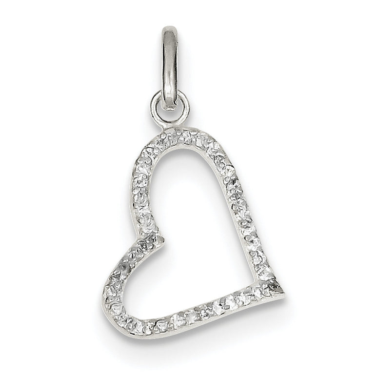 Sterling Silver CZ Heart Pendant QP2706 - shirin-diamonds