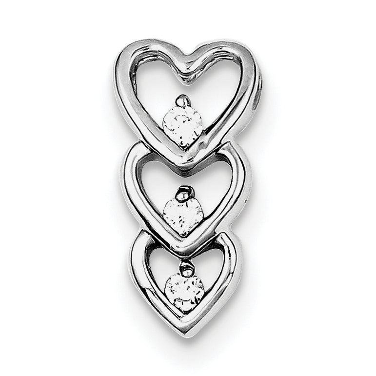Sterling Silver Rhodium Plated CZ Multi Hearts Slide Pendant QP2801 - shirin-diamonds