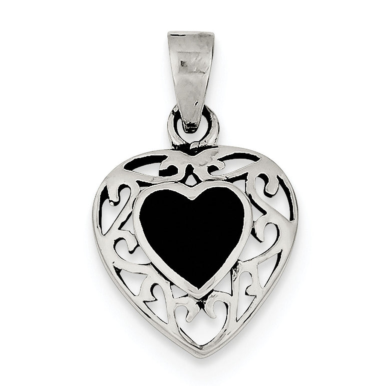 Sterling Silver Onyx Heart Antiqued Pendant QP2830 - shirin-diamonds