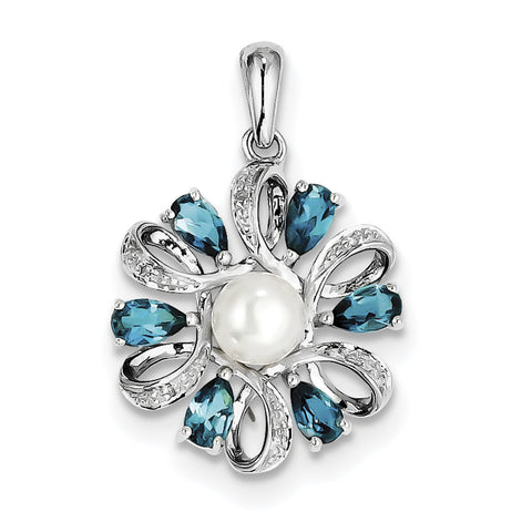 Sterling Silver Rhodium Plated Dia. and London BT Flower Pendant QP3176 - shirin-diamonds