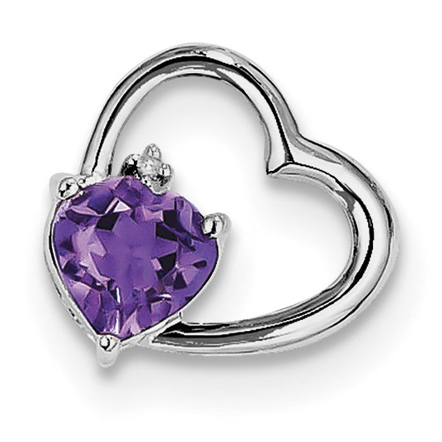 Sterling Silver Rhodium Plated Diamond & Amethyst Heart Pendant QP3181AM - shirin-diamonds